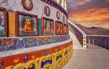 India, Ladakh, Leh District, Lamayuru, Colorful Ornate Stupa Buddhist Lamayuru Monastery In Himalayas