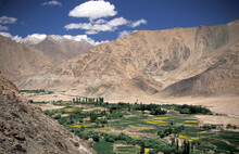 India, Ladakh, Leh District, Nubra Valley, Mountain Landscape In Himalayas Seen From Buddhist Lamayuru Monastery In Valley