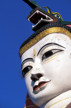 Myanmar, Mandalay, Giant Buddha Statue In Buddhist Temple