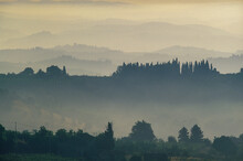 Italy, Tuscany, Val D'Orcia, Rural Hills With Morning Mist