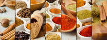 Collage Of Spices Assortment. Food Ingridients.