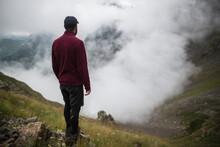 Switzerland, Appenzell, Man Hiking In Swiss Alps