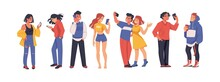 Social Media People. Cartoon Men Or Women Using Smartphones For Selfie, Messages, And Communication. Teenagers Chatting. Young Characters Holding Phones. Vector Persons With Gadgets Set