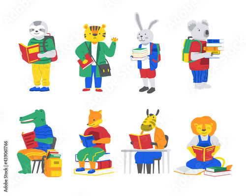 Fototapeta premium Animals with books. Cartoon characters go back to school. Crocodile and fox read. Koala or rabbit carry stacks of textbooks. Tiger and lion study. Happy creatures set. Vector education