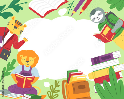 Fototapeta premium Animals read books background. Cartoon sloth and lion studying textbooks. Tiger greeting waves hand. Back to school concept. Frame mockup with copy space. Vector education for children