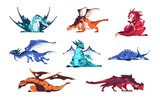 Fototapeta Dinusie - Dragon. Cartoon fairy tale creatures. Magical animals set. Mythological predators flying and sleeping. Monsters hunting. Fictional reptile with wings and tail. Vector lying dinosaurs