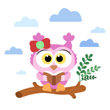 Cartoon Cute Pink Baby Owl With Red Bow Sits On Log And Read Book With Blue Clouds On Background. Vector Illustration