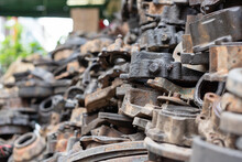 Automobile Engine Parts In The Car Repair Yard