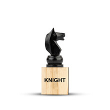 Black Chess Horse, On A Wooden Block. Isolated On A White Background. Side View. The Game. Training. Education.