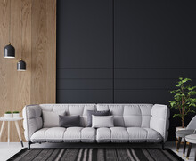 White Sofa In Cozy Home Interior, Dark Living Room With Wooden Wall Stripes, 3d Render