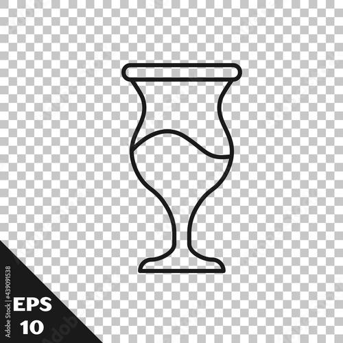Obraz na płótnie Black line Jewish goblet icon isolated on transparent background