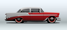 Red Classic Car, View From Side, In Vector.