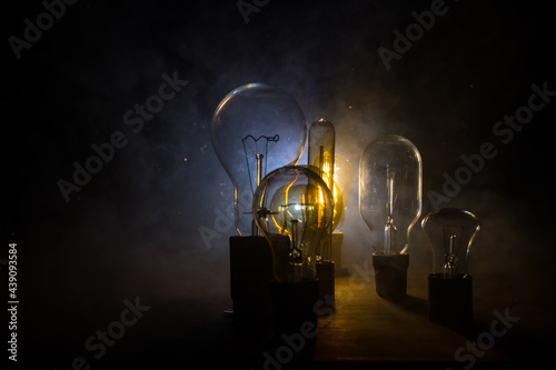 Canvastavla Beautiful retro luxury interior bulb lighting lamp decor glowing in dark