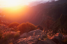 Stone Rocks At Morning During Sunrise In Pico Do Arieiro Mountain, Madeira Island, Portugal. Stunning Landscape View.
