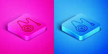 Isometric Line Yoyo Toy Icon Isolated On Pink And Blue Background. Square Button. Vector