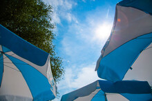 White Blue Parasols And Blue Sky, The Sky Of Bavaria