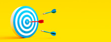 Red Dart Finding The Target. Business Solution Concept On Yellow Background 3D Rendering, 3D Illustration