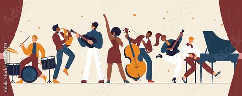 Fotografiet International jazz day, retro music festival party concert vector illustration