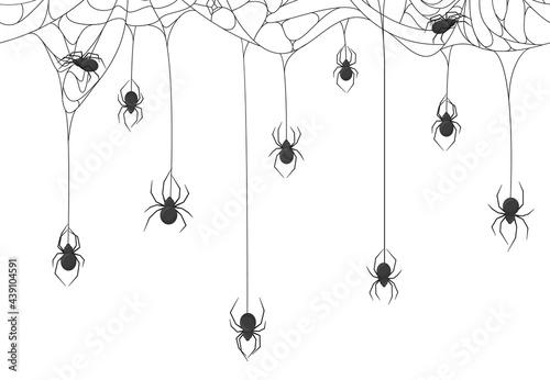 Cuadros en Lienzo Halloween spiders background