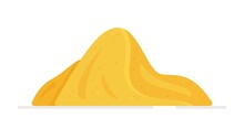 Vector Illustration Of A Mountain Of Sand On A White Background. Pile Of Sand Color Vector Icon. Mound Of Sand, Desert Or Beach Dune In Flat Cartoon Style.
