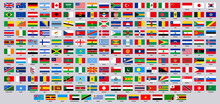 National Flags. World Countries Flag Emblems, Europe, Asia, South And North America National Symbols Vector Illustration Set. Official National Flags