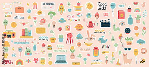Weekly planner stickers. Doodle notebook, diary or planner badges, motivation phrases and cute characters vector illustration set. Planner stickers