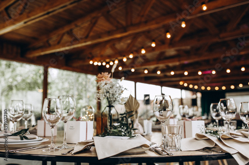 Tableau sur Toile Wedding table setting and decoration