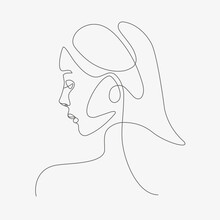 Woman Head Lineart Illustration One Line Style Drawing