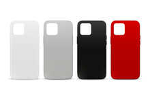 Vector 3d Realistic White, Gray, Black, Red Blank Phone Case Design Template. Back Cover For Smartphone Set Isolated On White Background. Mockup. Front View