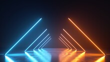 3d Render, Abstract Neon Background With Diagonal Line Lamps Glowing With Blue And Yellow Light. Empty Studio With Perspective View For Performance Show
