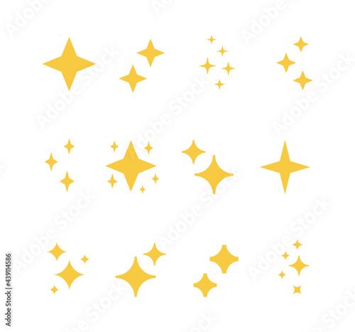 Obraz na plátně Sparkle flat icon set. Shimmer, shiny stars, flash