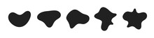 Random Abstract Liquid Organic Black Irregular Blotch Shapes Flat Style Design Fluid Vector Illustration Set Banner Simple Shape Template For Presentation Design, Flyer, Isolated On White Background.
