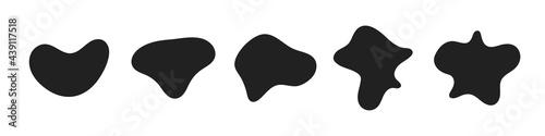 Fototapeta Random abstract liquid organic black irregular blotch shapes flat style design fluid vector illustration set banner simple shape template for presentation design, flyer, isolated on white background