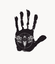 Black Print Of A Human Palm With Inverted Pentagram And Scary Butterfly Dead Head With A Skull-shaped Pattern On The Thorax. Vector Black And White Banner. T-shirt Design Template