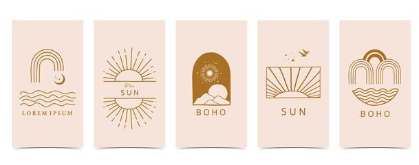 boho background for social media.Set of instagram story with shape,sun,rainbow