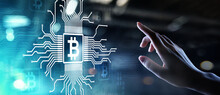 Bitcoin Growth Fintech Financial Technology Cryptocurrency Concept Digital Money. Trading And Investment Concept.