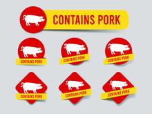 Halal Food Label Design Set. Food Caution Food Label. Banner Ribbon Sticker No Pig