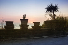 Silhouettes Of Vases And Tropical Plants On A Garden Fence At Sunset.