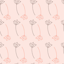 Organic Vintage Seamless Pattern With Purple And Pink Contoured Dandelion Shapes.