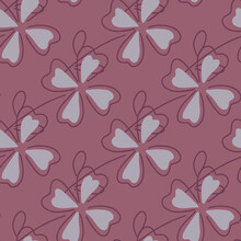 Happy Seamless Pattern With Grey Clover Leaves Shapes. Pale Pink Background. Decorative Floral Lucky Backdrop.
