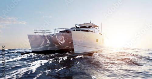 Fototapeta Catamaran motor yacht on the ocean