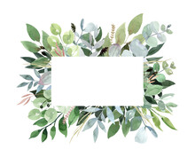 Hand Drawn Watercolor Frame Of Green Leaves, Branches, Herbs. Foliage, Oval Frame, Square Frame. For Invitation, Greeting Cards, Posters, Business Cards