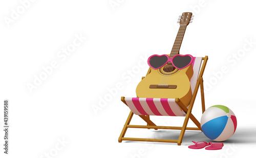 Fotografie, Obraz Guitar wearing sunglass on beach chair,  summer sale template, summer season, 3d