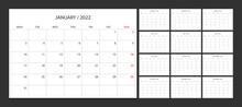Calendar 2022 Week Start Monday Corporate Design Planner Template.