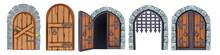 Castle Wooden Gate Vector Set, Medieval Cartoon Entrance Grate, Stone Arch Front View, Handle. Vintage Architecture Double Palace Entry, Ancient City Element Collection. Castle Gate Outdoor Portal