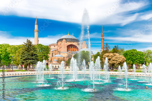 Canvastavla Hagia Sophia mosque, church, cathedral with fountains in Istanbul, Turkey