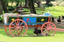 Colorful Cart In The Bulgarian Folk Style In The Farmyard