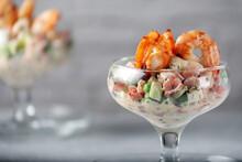 Fresh Vegetable Salad With Shrimps. Diet Food