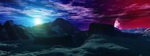 Alien Landscape, Martian Landscape, Glow On Mars, Surface Of Another Planet,, 3d Rendering