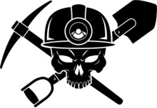 Human Skull Wearing Mining Helmet And Crossed Pickaxe And Shovel
